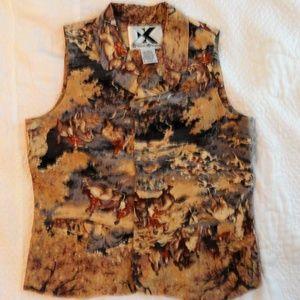 Silk Vest Equestrian Fox Hunt Sz Med Fall Colors